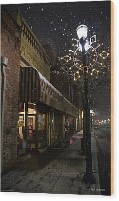 G Street Antique Store In The Snow Wood Print by Mick Anderson