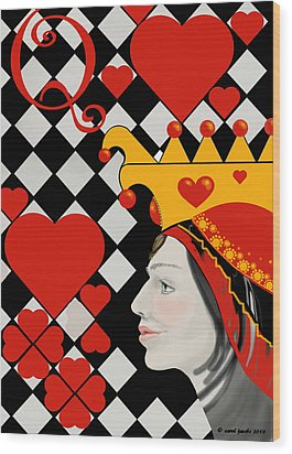Wood Print featuring the painting Gabby Queen Of Hearts by Carol Jacobs