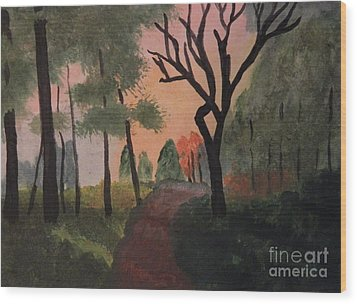 Gabby's Path Watercolor Wood Print