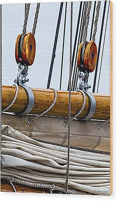 Gaff And Mainsail Wood Print by Marty Saccone