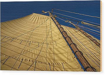 Wood Print featuring the photograph Gaff Rigged Mainsail by Marty Saccone