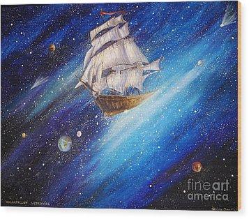 Galactic Traveler Wood Print