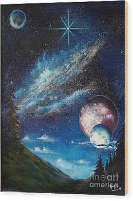 Galatic Horizon Wood Print by Murphy Elliott