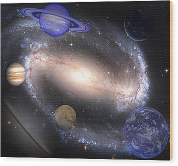 Galaxies And Planets Wood Print by J D Owen