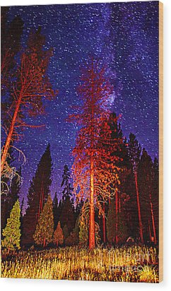 Wood Print featuring the photograph Galaxy Stars By The Campfire by Jerry Cowart