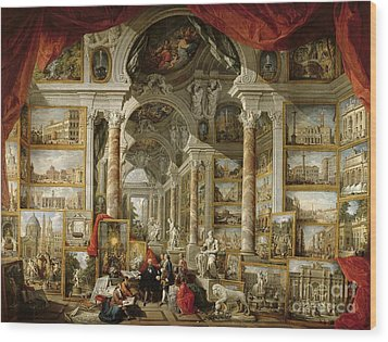 Gallery With Views Of Modern Rome Wood Print by Panini