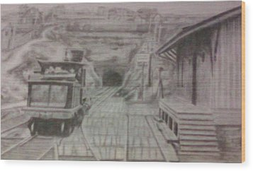 Wood Print featuring the drawing Gallitzin Tunnel by Thomasina Durkay