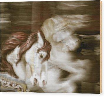 Gallop 3 Wood Print by Takeshi Okada