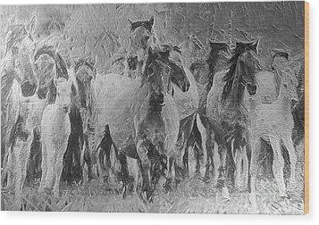 Galloping Horse Team Wood Print