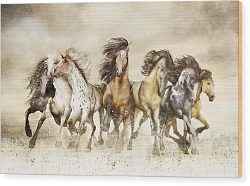 Galloping Horses Magnificent Seven Wood Print by Shanina Conway