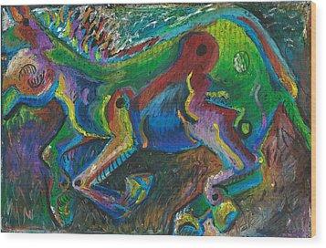 Galloping Mule Wood Print by Melinda Dare Benfield