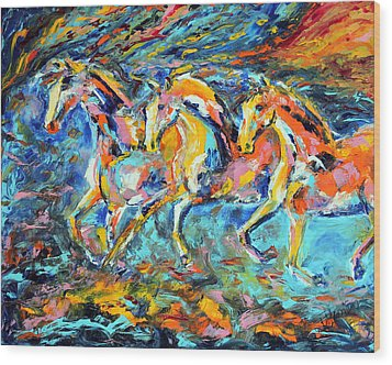 Galloping Sunset Wood Print by Jennifer Godshalk