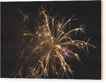 Galveston Fireworks Wood Print by Jason Brow