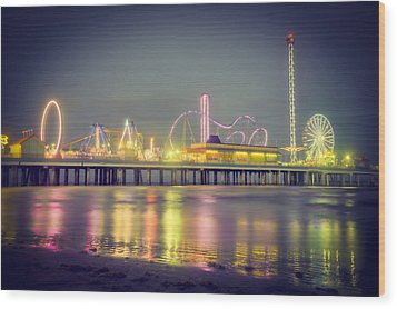 Galveston Pier Colors Wood Print by Ray Devlin