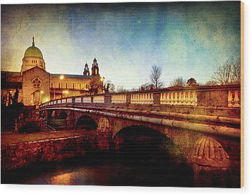 Galway Cathedral And The Salmon Weir Bridge Wood Print by Mark Tisdale
