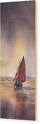 Galway Hooker Reflections Wood Print by Roland Byrne