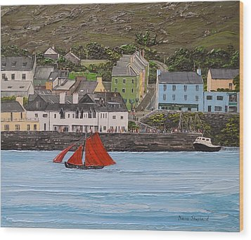 Galway Hooker Sailing Past Roundstone Connemara Ireland Wood Print