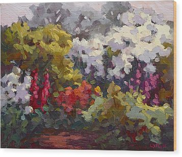 Gamble Gardens Wood Print by Carol Smith Myer