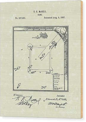 Game 1887 Patent Art Wood Print by Prior Art Design