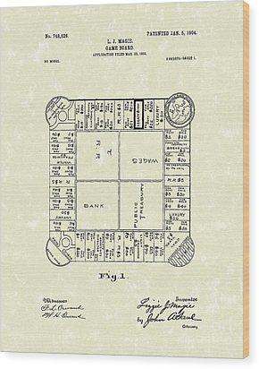 Game Board 1904 Patent Art Wood Print by Prior Art Design