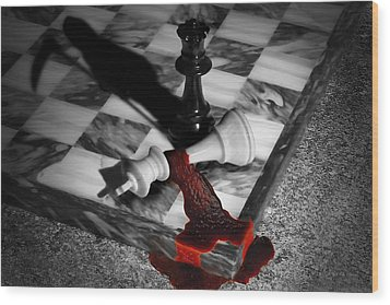 Game - Chess - Check Mate Wood Print by Mike Savad