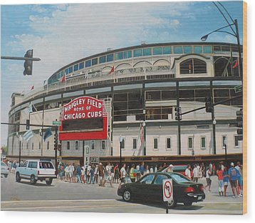 Game Day At Wrigley Wood Print by Steve Wilson