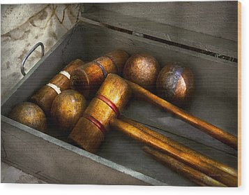 Game - Everyone Loves To Play Croquet   Wood Print by Mike Savad