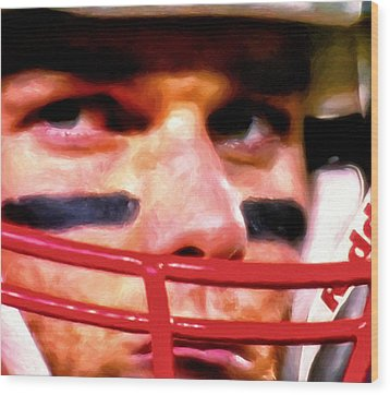 Game Face Wood Print by Michael Pickett