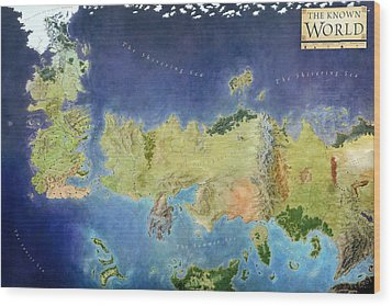 Game Of Thrones World Map Wood Print