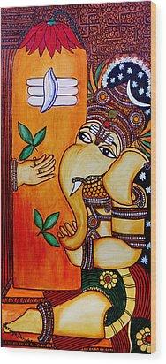 Ganapathy Wood Print by Saranya Haridasan