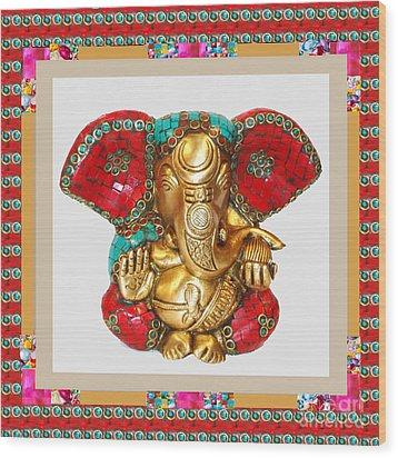 Ganapati Ganesh Idol Hinduism Religion Religious Spiritual Yoga Meditation Deco Navinjoshi  Rights M Wood Print