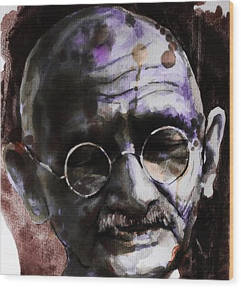 Wood Print featuring the painting Gandhi by Laur Iduc