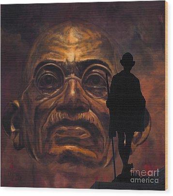 Gandhi - The Walk Wood Print by Richard Tito