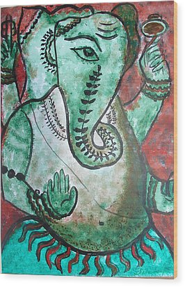 Wood Print featuring the painting Ganesh 10 by Anand Swaroop Manchiraju