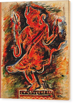 Wood Print featuring the painting Ganesh- 6 by Anand Swaroop Manchiraju