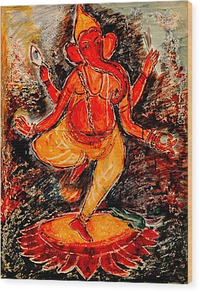 Wood Print featuring the painting Ganesh- 8 by Anand Swaroop Manchiraju