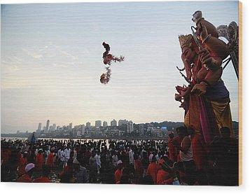 Ganesha Blessings Wood Print by Money Sharma