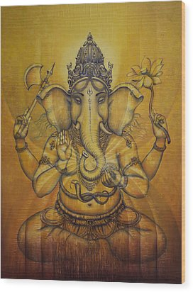 Ganesha Darshan Wood Print by Vrindavan Das
