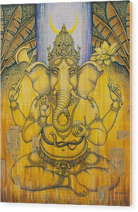 Ganesha Wood Print by Vrindavan Das