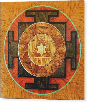 Ganesha Sacred 3d High Relief Artistically Crafted Wooden Yantra    23in X 23in Wood Print by Peter Clemens