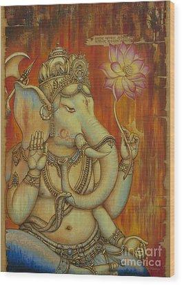 Ganesha Wood Print by Yuliya Glavnaya