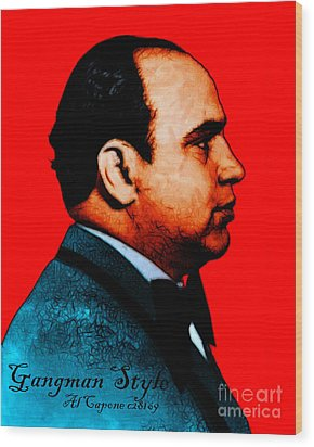 Gangman Style - Al Capone C28169 - Red - Painterly Wood Print by Wingsdomain Art and Photography