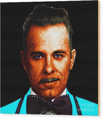 Gangman Style - John Dillinger 13225 - Black - Color Sketch Style Wood Print by Wingsdomain Art and Photography