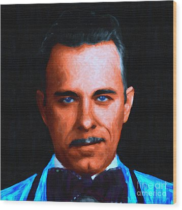 Gangman Style - John Dillinger 13225 - Black - Painterly Wood Print by Wingsdomain Art and Photography