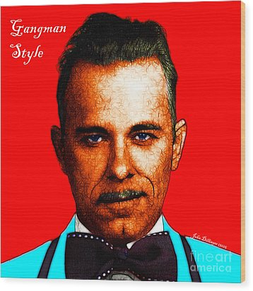 Gangman Style - John Dillinger 13225 - Red - Color Sketch Style - With Text Wood Print by Wingsdomain Art and Photography