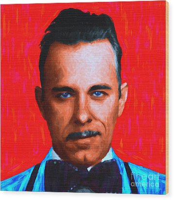 Gangman Style - John Dillinger 13225 - Red - Painterly Wood Print by Wingsdomain Art and Photography