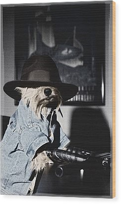 Gangster Dog Wood Print by Susan Stone