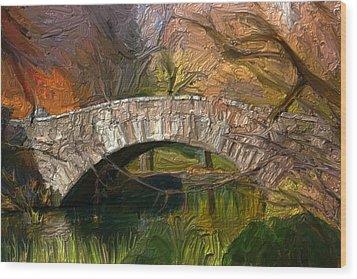 Gapstow Bridge In Central Park Wood Print by GCannon