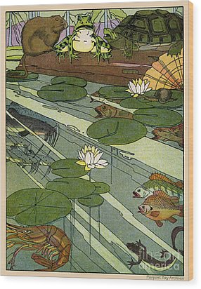 Garada Clark Riley Living Pond With Frog Turtle Lily Pads Fish Crawfish Mouse Snail Lizard Etc Wood Print by Pierpont Bay Archives