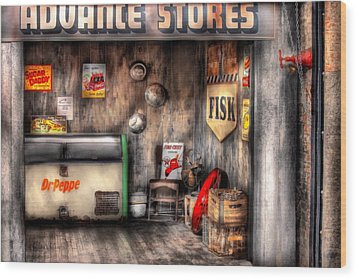 Garage - Advance Stores  Wood Print by Mike Savad